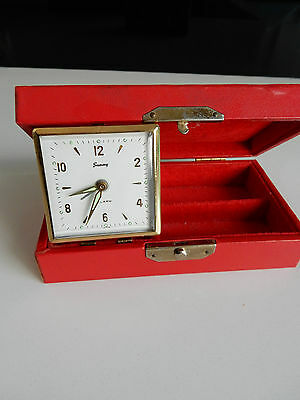 Vintage travel clock with alarm and jewellery box all in one Japan Made