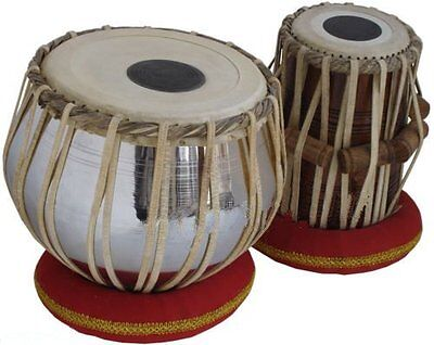 Wood TB-0087 Hand Made Regular Style Brass Tabla Set Chrome Color By Dorpmarket