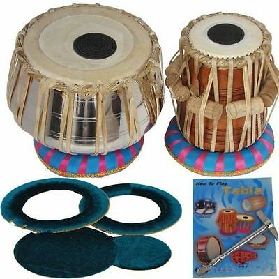 Sheesham Wood TB-0088 Steel Tabla Drum Set Silver Color - Made by Dorpmarket