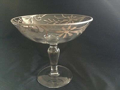 Unusual Large Vintage Hand Painted Champagne Coupe/Compote Bronze Flower Design