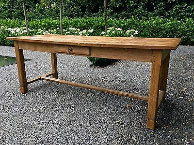 Antique 19Th C. French Normandy Elm And Oak Provincial Farmhouse Dining Table