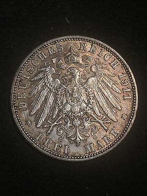 1911J Germany States 3 Mark Silver Coin
