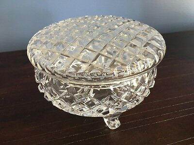 Sparkling 14cms Vintage Three Footed Cut Crystal Round Trinket Pot with Lid