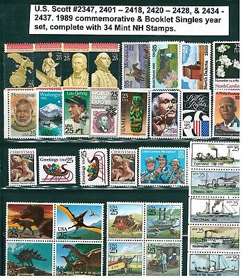 US 1989 Commemoratives / Booklet Singles Year Set with 34 Stamps MNH