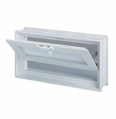 18x8x3 Vinyl, Thermal Pane, Glass Block Vent with Dual Insulated Glass Unit