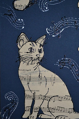 Cat, Music and Butterflies. Handmade picture, collage. Made of vintage paper.