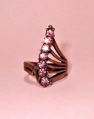 Modernist Copper Ring with Pink Rhinestones Size 7.5