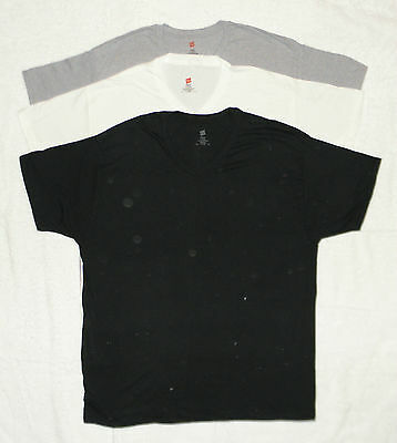 Mens Hanes Cotton VNeck T-Shirts S Small Lot of 3 - Black, White, Steel NEW
