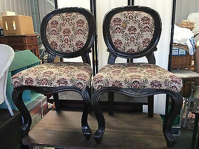 Antique Shabby Vintage Carved Timber Chairs Armchairs