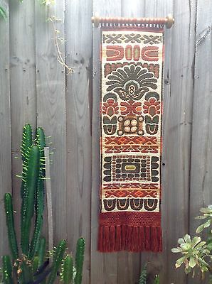 VINTAGE Woven ETHNIC WALL HANGING Textile WOOL TASSELS