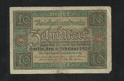 Germany ~  1920 Reichsbanknote 10 Mark (Circ.) Currency Bank Note