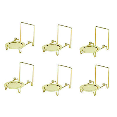 Set of 6pcs Tea Cup and Saucer Stand Display Brass Etched Base