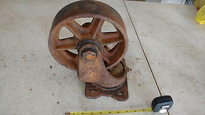 "Antique Vintage Bassick 8"" Metal Industrial Cart Wheels Casters Steampunk Rusty"