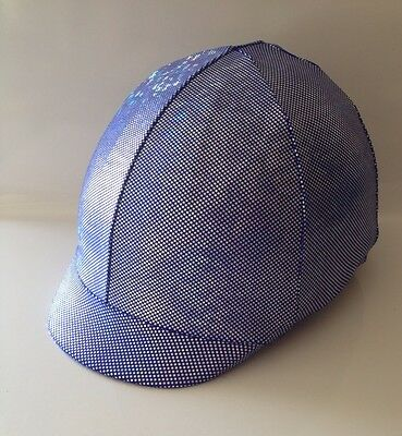 Horse Helmet Cover Blue With Silver Holographic Lycra AUSTRALIAN  MADE