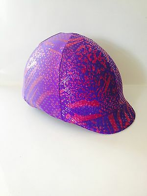Horse Helmet Cover Purple With Pink Glitter Lycra AUSTRALIAN  MADE