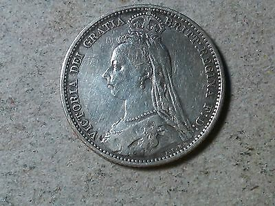 Sixpence. 6 pence Great Britain  Wedding coin. Queen Victoria 1887  silver