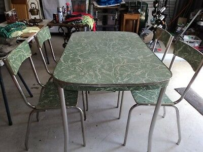 Vintage Retro Kitchen Table And Chairs X 4 Dining Green Laminate