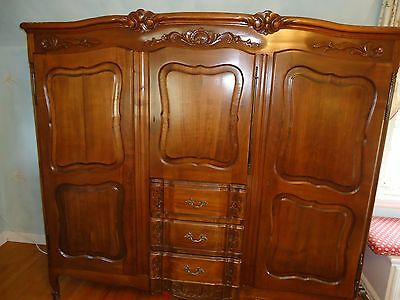 Antique French Country Armoire Wardrobe Closet Cabinet Dresser 19th Century