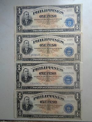 Philippines Banknotes***1 Peso***victory Series***4 Notes***