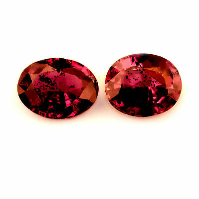 Certified Natural 0.88ct Matching Untreated Ruby Pair, Oval Cut