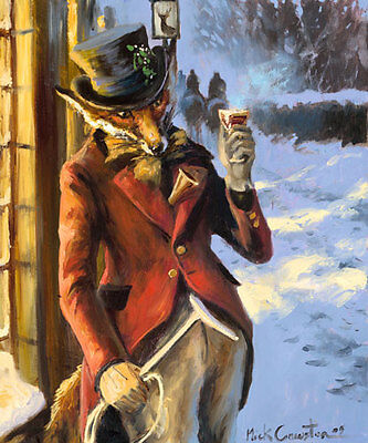 Here's to You Sir. Open Edition Art print by Mick Cawston. Funny Fox, hunting
