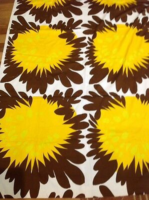 Retro Vintage 'Falster' Cotton Twill Fabric Yellow Brown Floral120 Cm X 220 Cm