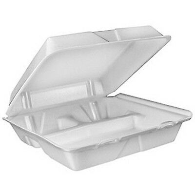 Dart Large 3-Compartment White Foam Carryout Food Conta... (NEW - FREE SHIPPING)