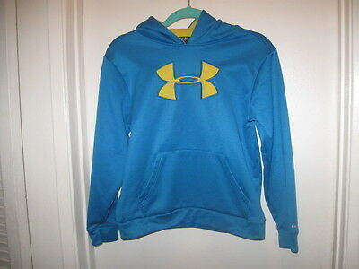 Under Armour YMD Youth Medium Boy Girl Blue Yellow Large Logo Storm Hoodie