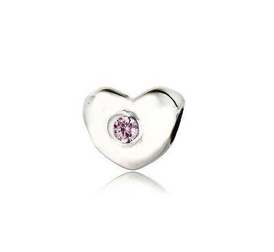 Pandora Solid Sterling Silver S925 Ale Blush Pink Heart Charm Bead New