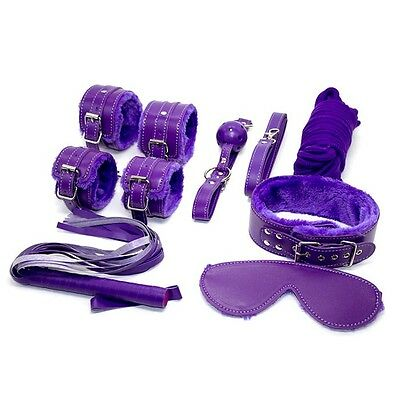 KIT SET  POLSINI COLLARE CAVIGLIERE Frusta benda  viola fetish