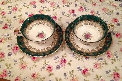 Vintage China Queens Monarch Green Floral Tea Cups Saucers