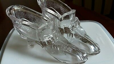 Pair Antique Clear Glass,Shoe/Slipper with Bow..