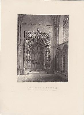 Chapter House Door Rochester Cathedral antique engraving print 1836