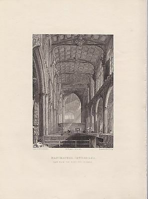 West end of Nave Manchester Cathedral antique engraving print 1836
