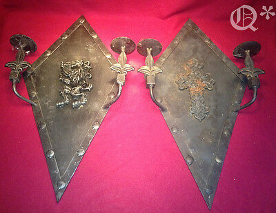 Pair Vintage Double Arms Iron Wall Sconces Decor