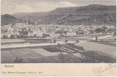 Luxembourg - Diekirch, Dikrech (Panorama) - with stamp 1906