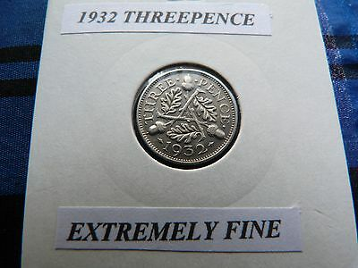 EXTREMELY FINE? 1932 THREEPENCE  (Silver .500)  George V