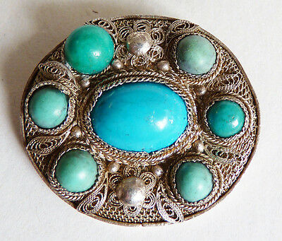 Broche ancienne en ARGENT massif filigrane + turquoise Chine China silver brooch