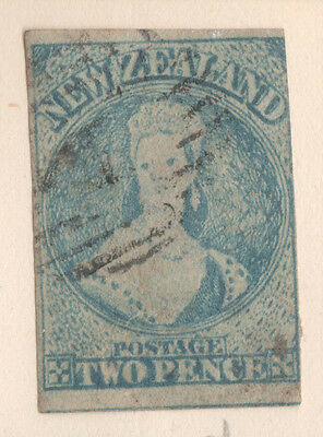 NZ SG5,, Queen Victoria Chalon 2d Blue  Imperf, Good  Used