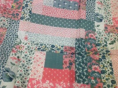 Retro Fine Cotton Fabric Faux Patchwork Pink And Green Floral 90 Cm X 200 Cm