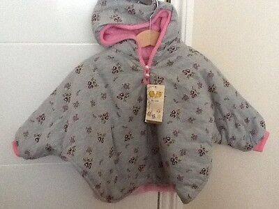 Girls reversible winter poncho/jacket, pink/grey floral with hood,new, 1-3 years
