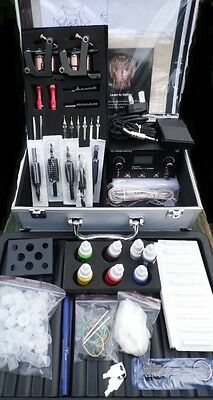 Uk Pro Cased Tattoo Dual Power Supply Complete Kit 2 Cast Machine Studio Quailty