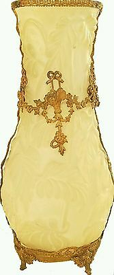 Victorian frosted art glass vase w/ormolu gold detail and mount