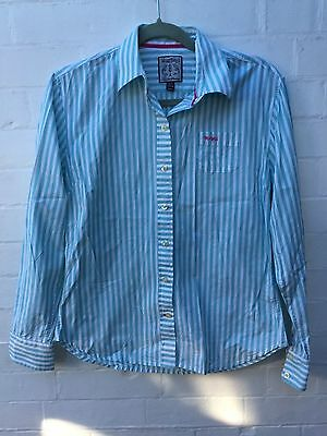 Toggi stripped Turquoise Green Shirt with a pink logo, size 12
