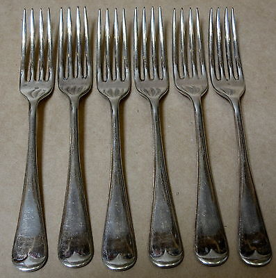 Set Of 6 Vintage Silver Plated Oxford Entree Salad Forks