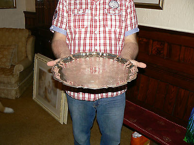 Big 16 Inch Silver Plated Pie Crust Engraved Serving Drinks Butlers Tray Salver