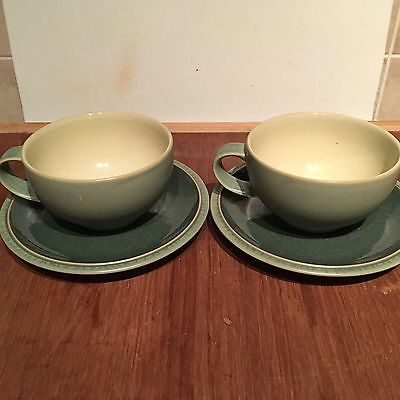 Denby Green Large Breakfast Cups X2 And Saucers X3
