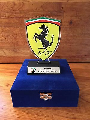 2016 Ferrari F1 Abu Dhabi commemorative Glass Trophy - Rare and Collectable