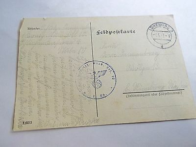 WW2 1942  German Feldpost  post card from a soldier Waffen SS stamp Swastika 6
