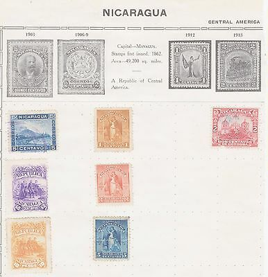 Ls156 Early  Stamps From Nicaragua  On Old Album Page